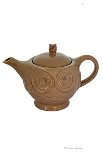33oz Owl Design with Embossed Feathers & Eyes Ceramic Tea Teapot with Finial Lid