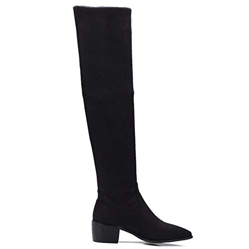 Women Coolcept Fashion Pull Boots On Toe Black Pointed aBdrqxwB