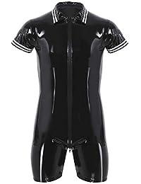 Xxxl Analytical Super Cool Sexy Men Black Patent Leather Jumpsuit Vinyl Latex Bondage Catsuit Double Zip Wetlook Leotard Bodysuit Size S Exotic Apparel