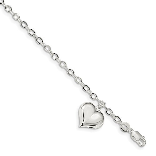 925 Sterling Silver Heart Charm Link Bracelet 8 Inch/love Fine Jewelry Gifts For Women For Her