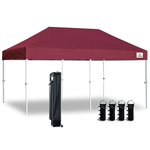 Keymaya 10'x10' Ez Pop Up Canopy Tent Commercial Instant Shelter Canopies Bonus Heavy Duty Weight Bag 4-pc Pack (10x20, C# Burgundy)