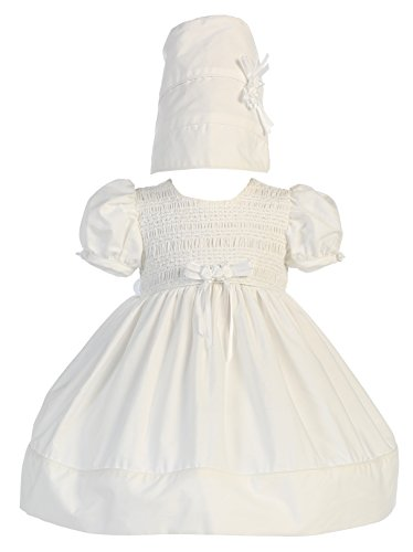 Baby Girl White Cotton Smocked Short Gown Christening with Hat S (3-6 Month)