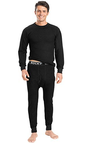 Rocky Men's Mid Weight Wicking Thermal 2pc Top and Pant Underwear Set (Medium, Black)