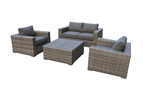 Envelor Bali Outdoor Patio Furniture Love Seat Set Durable Wicker Rattan Includes One Love Seat Two Club Chairs One Coffee Table and Charcoal Grey Olefin Cushions (Furniture Bali)