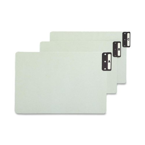 Smead 100% Recycled End Tab Pressboard File Guides, Vertical Metal Tab (A-Z), Extra Wide Legal Size, Gray/Green, Set of 25 (63276) ()