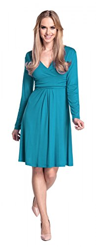 890 longues taille jersey manches fronce Femme Empire Robe Robe Glamour Aqua qxz8ZtW