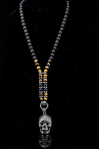 Handgefertigte Halskette Rosenkranz Totenkopf Kette für Männer Herren aus Lava Vulkan Tigerauge Halbedelstein Bikerkette aus Edelstahl Y Kette Unisex