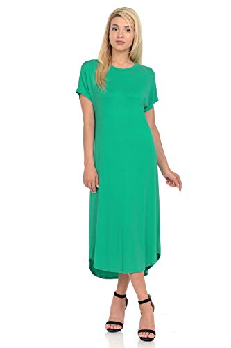 iconic luxe Women's A-Line Short Sleeve Midi Dress Small - Dress Knit Style