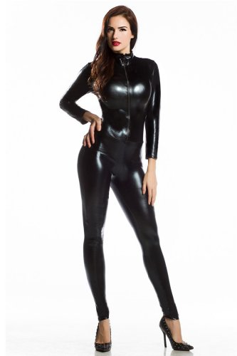 Amour- Catsuit Women Bodysuit Zip up Clubwear Stripper (Regular Size, black)