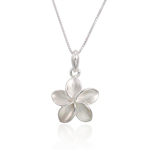 925 Sterling Silver Hawaiian Plumeria Flowers Charm Pendant Necklace, 18 inches (Plumeria Flower Necklace)