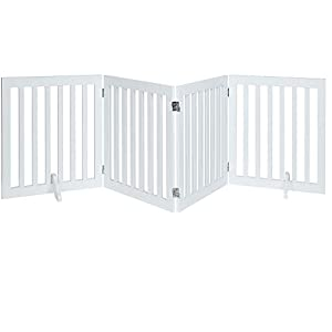 unipaws Freestanding Wooden Dog Gate, Foldable Pet Gate with 2PCS Support Feet Dog Barrier Indoor Pet Gate Panels for Stairs, White