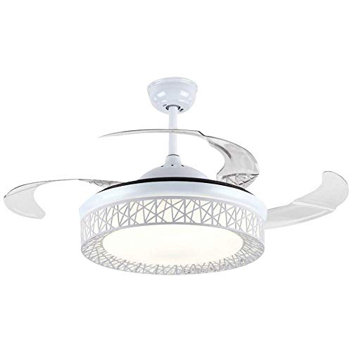 Modern Fan Ceiling Light with Remote Control Three-Color Dimmable Crystal Fan Chandelier Blade Retractable Mute Indoor Fan Light 42 Inch White
