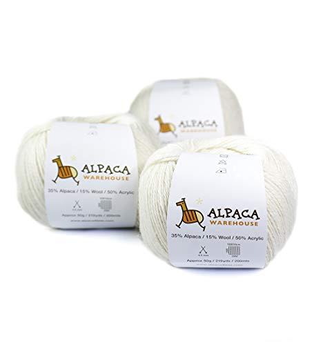 (Blend Alpaca Yarn Wool Set of 3 Skeins Fingering Weight (Ivory))