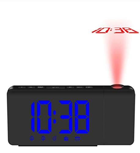 XZHH Reloj Despertador Proyección Led Digital Proyector Giratorio ...