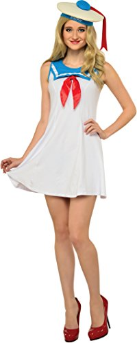 Marshmallow Man Ghostbusters Costume (Rubie's Costume Co. Women's Ghostbusters Classic Stay Puft Costume Flair Dress, As Shown, Large)