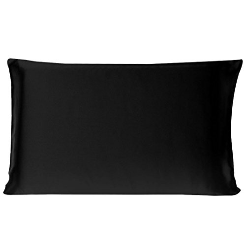 uxcell 100% Pure Mulberry Charmeuse Silk Pillowcase Pillow Case Cover for Hair & Skin 19 Momme Toddler/Travel Size 14x20 Inch/36x51cm Black (1-Piece)