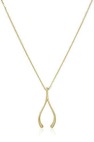 14k Yellow Gold Large Wishbone Necklace, 17
