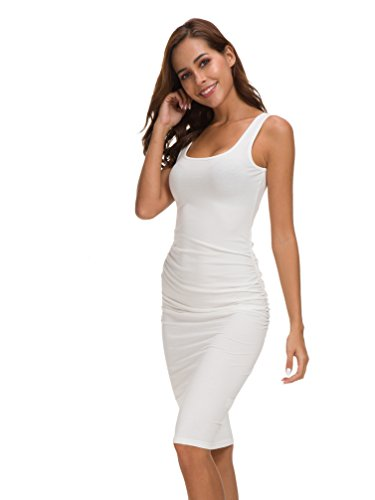 Missufe Women's Bodycon Ruched Sleeveless Sundress Beach Casual Sheath Dress (White, Medium/Large)