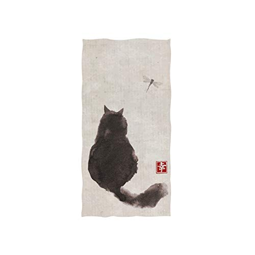 Naanle Black Fluffy Cat Watch Dragonfly On Vintage Paper Traditional Japanese Ink Painting Soft Bath Towel Absorbent Hand Towels Multipurpose for Bathroom Hotel Gym and Spa - Ink Soft Hand