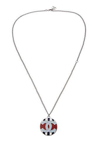 CHANEL Silver & Multicolor Enamel 'CC' Necklace (Pre-Owned)