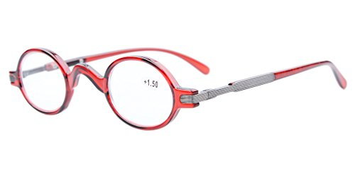 Eyekepper Readers Spring Temple Vintage Mini Small Oval Round Reading Glasses Red - For Small Faces Glasses Reading