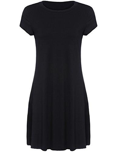 ROMWE Robe - Manches Courtes Col Rond en Jersey Femme Noir