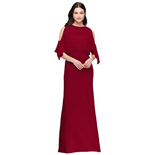 Cold-Shoulder Blouson Chiffon Bridesmaid Dress Style F19712, Apple, - Blouson Chiffon