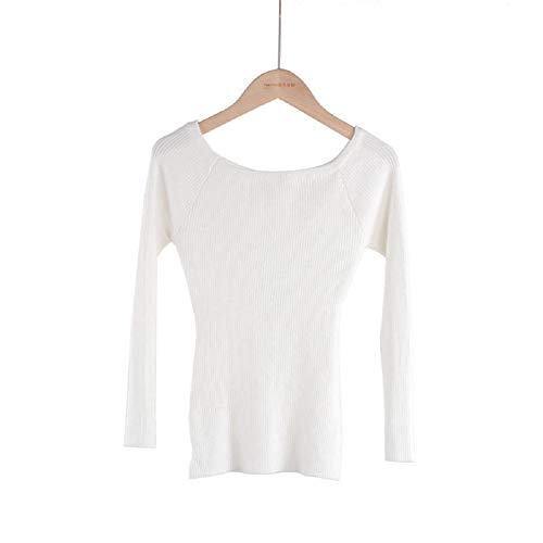 Leaders 100% Cotton Knitted Long Sleeve Boatneck Sweater (White)