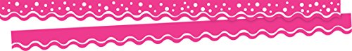 Barker Creek Double-Sided Border / Scalloped Edge 2 pack - Happy Hot Pink (BC3708) - Edge Scalloped Cardstock