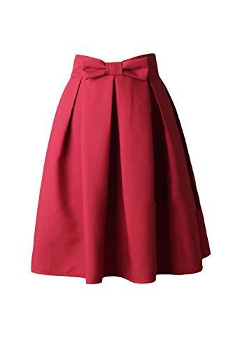 Fasumava Femmes Jupes Printemps Automne lgant Taille Haute Bowknot Jupe Patineuse Winered
