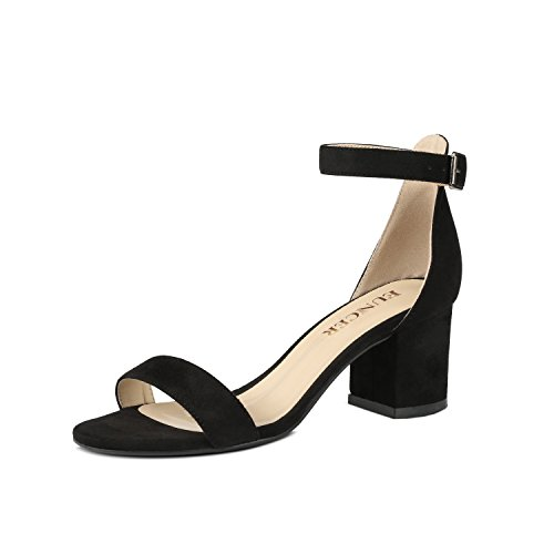 Band Strap Sandal Black Womens Single Chunky Heel Eunicer With Ankle Sw6EPqn48