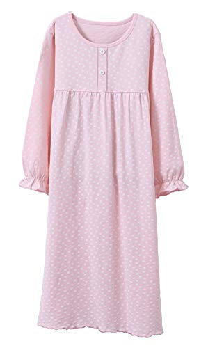 Wsorhui Girls Princess Nightgowns Heart Print Sleep Shirts Cotton Sleepwear for 3-11 Years