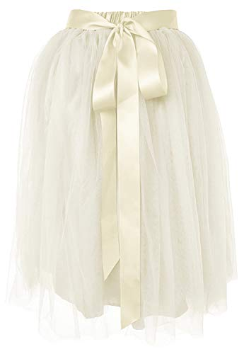 Dancina Women's Knee Length Tutu A Line Layered Tulle Skirt Regular (Size 2-18) Off White]()
