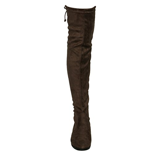 Stretchy Block Snug Fit Boots Drawstring Womens Taupe High FM33 Thigh Heel Beston ECZqUAwn
