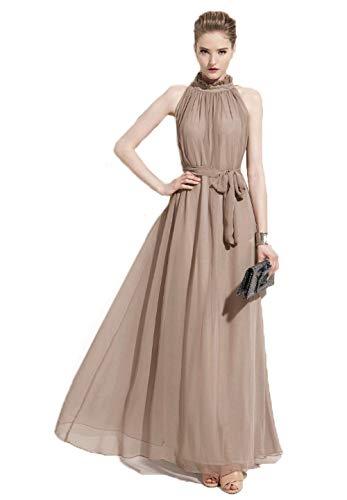(Chowsir Long Ruffle Neck Sleeveless Chiffon Maxi Dresses (One Size, Khaki))