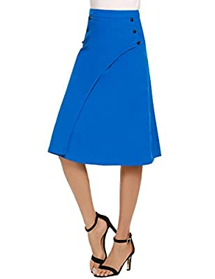 Zeagoo Womens Lightweight Casual Office Work Skirt Party A Line Midi Lady Skirts