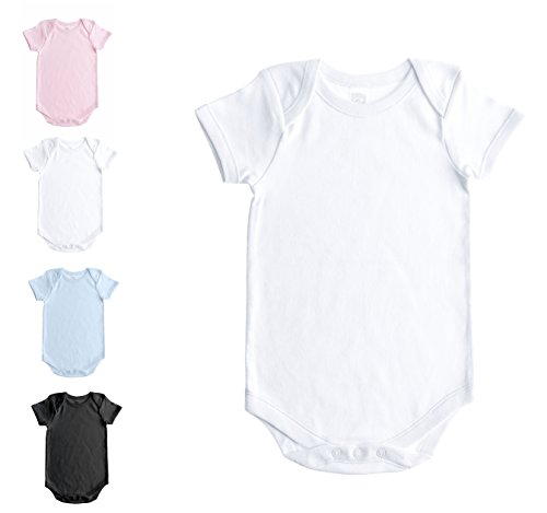 Baby Jay Soft Cotton Onesies, Short Sleeve Lap Shoulder Bodysuit, WSSE White 36-48 1-Pack