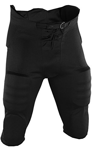 Adams Youth Football Practice Pant with Sewn In Pad-(7 piece pad set) (Black, Large) (Practice Pants Football)