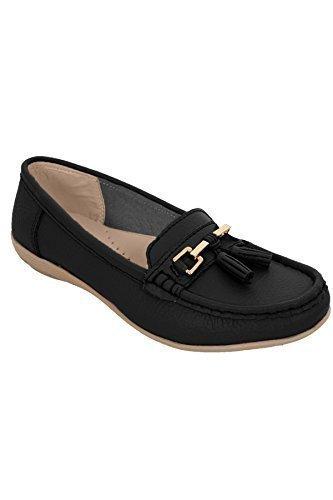 Flache Schuhe Fantasia Niedriger Schwarz Boutique ® Leder Damen hxsQdtrC