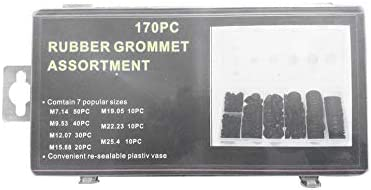 DGD 170Pcs Car Rubber Grommet Firewall Hole Plug Set Electrical Wire Gasket Kit/—black