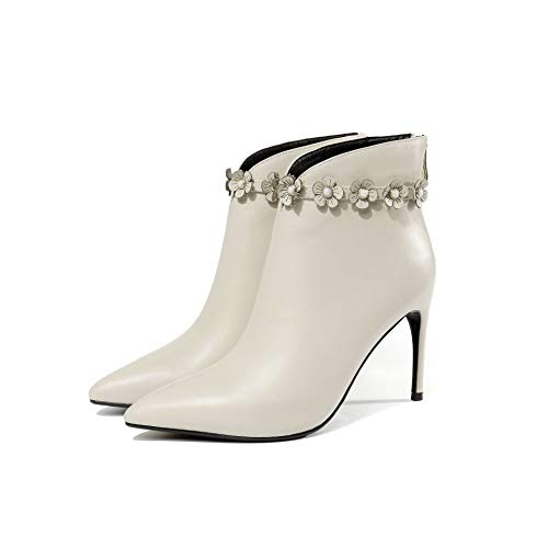 Bottines Pointus Stiletto Courtes White pour Talons Femme à Rice TTrAHgqwOx