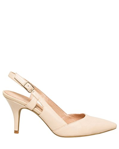 4 Inch Slingback Pump Shoes - LE CHÂTEAU Women's Classic Leather Pointy Toe Slingback Pump,7,Nude