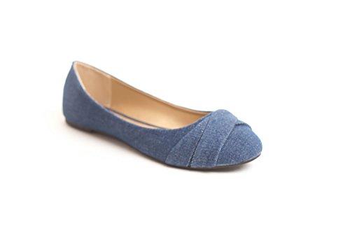 Soho Sko Kvinners Uformelle Flat Slip På Ballett Loafers Komfortable Leiligheter Oss Størrelse 6-11 Navy