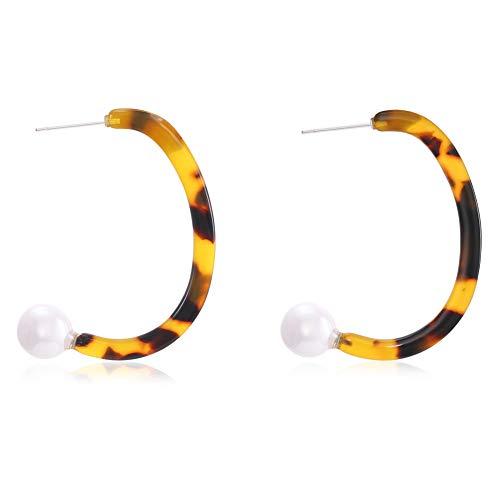 LILIE&WHITE C Shape Acrylic Earrings Hoop Earrings Acrylic Resin Drop Dangle Earring Bohemian Statement Stud - Earrings Tortoise Faux