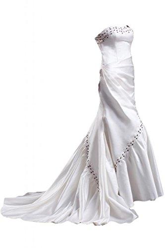 Sunvary Robe Longue Robe de Mariage de A-Ligne sans Bretelles Col en C?ur en Satin El¨¦gante ¨¤ Tra?ne Tribunal avec Faux Diamants