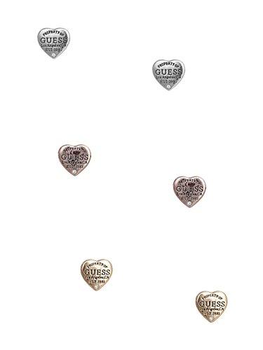 GUESS Factory Women's Tri-Tone Logo Heart Stud Earrings (Guess Set Earrings)