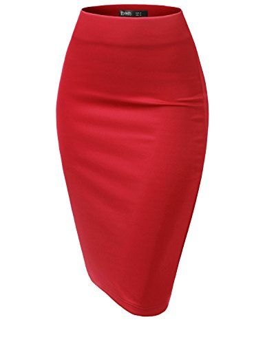 TWINTH Womens High Waist Stretch Bodycon Classic Pencil Skirt RED XL ()