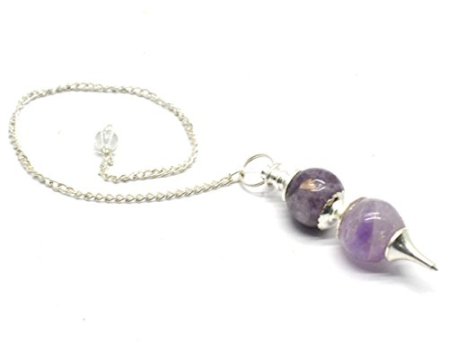 Healing Crystals India Natural Gemstone Sphere Chakra Divination Reiki Metaphysical Dowsing Pendulum w/Chain, Amethyst Double Ball