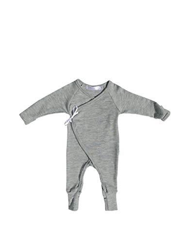 - Pure Organic Ultrafine Merino Wool Kimono Romper 6-9 Months Grey Soft Footie