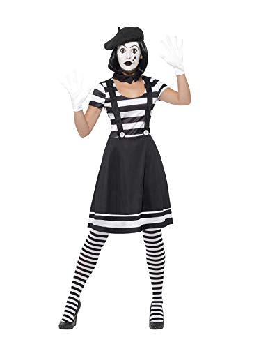 Smiffys Women's Lady Mime Artist Costume, Small, Black/White -